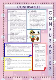 English Worksheets: CONFUSABLES: I�M SORRY - I�M AFRAID - ONLY - LONELY - ALONE