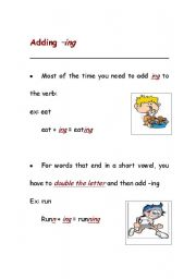 English Worksheets: adding ing