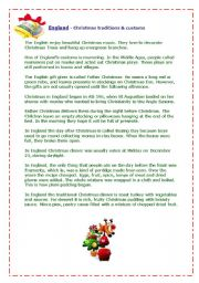 English Worksheet: England - Christmas traditions&customs