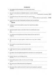 English Worksheet: INVERSION CAE, CPE