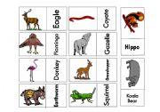 English Worksheets: Animals Domino Game 3 Part