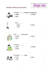 English worksheet: simple verb