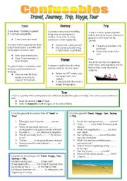 English Worksheets: Travel, Journey, Trip, Voyage or Tour?