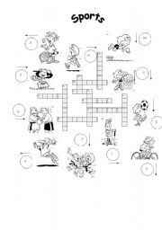 English Worksheet: FOR BEGINNERS: !sports crosswords