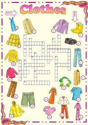 English Worksheet: Clothes-  Picture crossword
