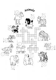 English Worksheets: FOR BEGINNERS: animals crosswords