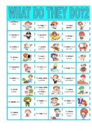 English Worksheets: What do they do?2-domino
