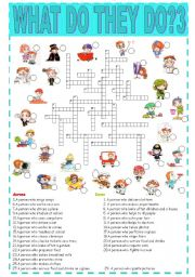 English Worksheet: What do they do?3-crossword