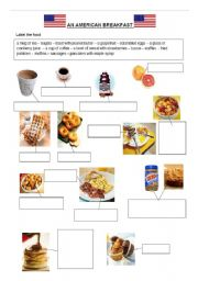English Worksheet: an American breakfast