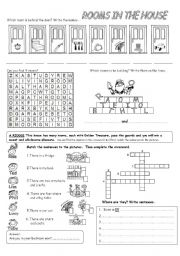 English Worksheet: Rooms in the house
