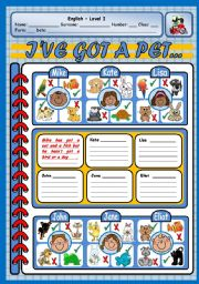 English Worksheet: I�VE GOT A PET