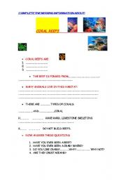 English Worksheets: CORAL REEFS