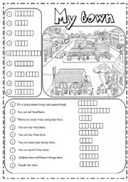 English Worksheets: Places in town (2/3)