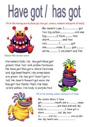 English Worksheet: HAVE GOT/ HAS GOT (2 pages)