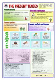 English Worksheets: THE PRESENT TENSES