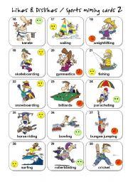 English Worksheets: Likes & Dislikes / Sports miming cards - set 2