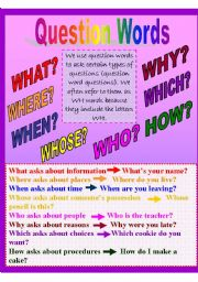 English Worksheets: question words with exercises