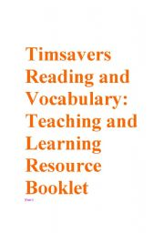 English Worksheets: Timesavers Reading and Vocabulary Booklet part 1