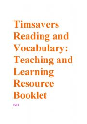English Worksheet: Timesavers Reading and Vocabulary Resource booklet part 2