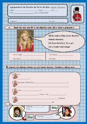 English Worksheets: ID test- Hannah Montana 1/2