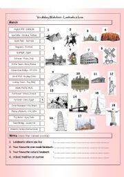 English Worksheet: Vocabulary Matching Worksheet - LANDMARKS & national icons