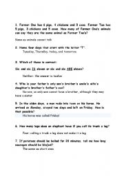 English Worksheet: Brain Teasers/Funny IQ Test