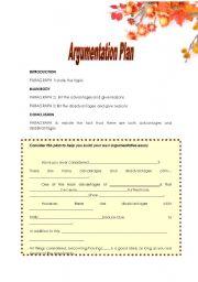 English worksheet: Writing - Argumentation Plan