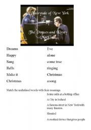 English Worksheet: Fairytale in New York - Christmas Song