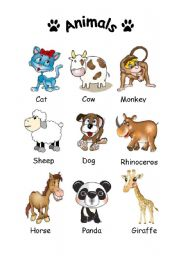 English Worksheets: Animals flash-card