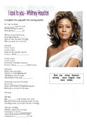 English Worksheets: I look to you - Whitney Houston