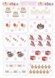 English Worksheet: HOW MANY...? cards - birthday