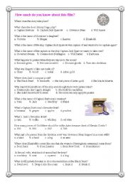 English Worksheets: Pirates of the Caribbean