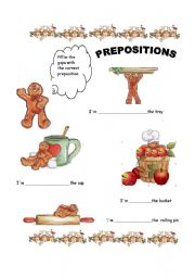 English Worksheet: Where�s gingerbread man ?  Prepositions 1