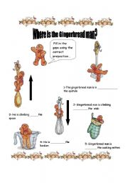 English Worksheet: Where�s  the gingerbread man? Prepositions 2