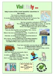 English Worksheet: Italy travel agency presentation of a country
