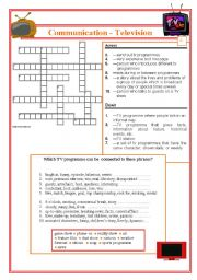 English Worksheets: Communication - Television part 2