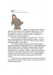 English Worksheets: Bigfoot