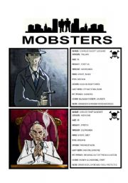 English Worksheet: GAME: MOBSTERS - GUESS WHO (1/3)