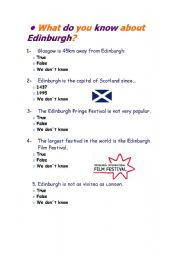 English worksheet: Edinburgh