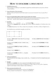 English Worksheets: describe a document