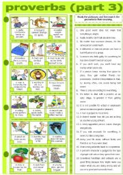 English Worksheet: PROVERBS - PART 3