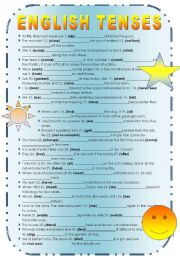 English Worksheet: English Tenses - revision exercise / test