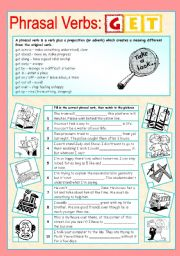 English Worksheet: Phrasal verbs (2/10): GET
