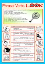 English Worksheet: Phrasal verbs (1/10): LOOK