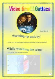 Video time! GATTACA (Extract # 3)- COMPREHENSIVE PROJECT (8 PAGES, 27 TASKS) ( Complete ANSWER KEY)