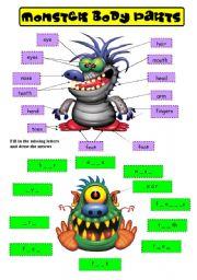 English Worksheet: MONSTER BODY PARTS