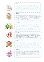 English Worksheet: Zodiac signs (part one) - personality adjectives