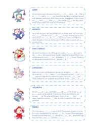 English Worksheet: Zodiac signs (part two) - personality adjectives