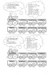 English Worksheet: the week train