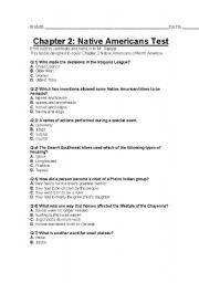 English worksheet: Ch 2 Native Americans Test